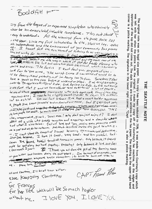 kurt cobain lettre d adieu La derniere Lettre de Kurt Cobain kurt cobain lettre d adieu